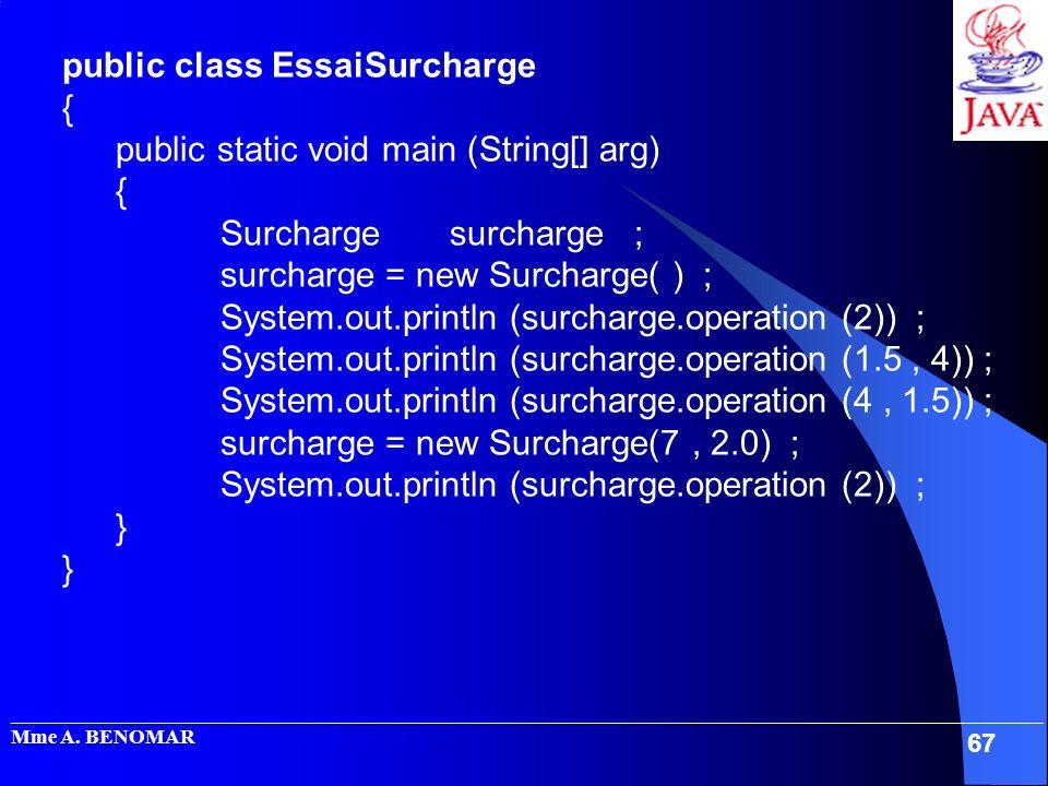 public class EssaiSurcharge { public static void main (String[] arg)
